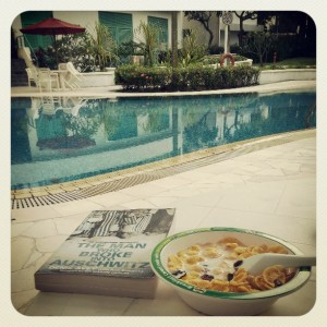 Post party pool side breakfast :P so chill, so chill :):)